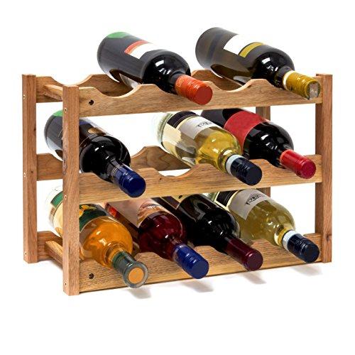 Relaxdays-10019279-Weinregal-klein-28-x-425-x-21-cm-Holz-Flaschenregal-mit-3-Ebenen-fr-12-Flaschen-Wein-kleiner-Weinflaschenhalter-aus-Walnuss-gelt-zur-waagerechten-Lagerung-natrlich