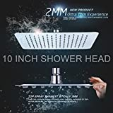 Yakult(TM) 10 Inch Ultra Thin Solid Square Stainless Steel Rain Shower Head High Pressure Rainfall Chrome Best Shower Head