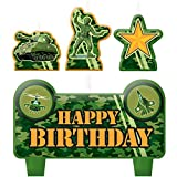 "Party Time Tanks and Soldiers Molded Mini Character Birthday Candle Set, Pack of 4, Camouflage , 2.25"" x 3.25"" Wax"