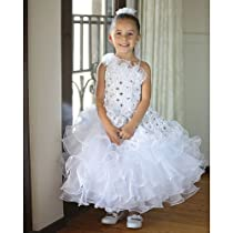 Hot Sale Angels Garment Girls 10 White Organza Ruffles Embroidered Easter Dress