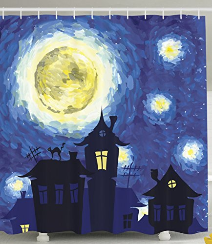 Van Gogh Paintings of Starry Nights Inspiring Art Prints with Haunted House Full Moon Scary Fabric Shower Curtain Home Decor for Bathroom Decorations Decorative Artwork Night Blue Black and Yellow Blue Moon Bath