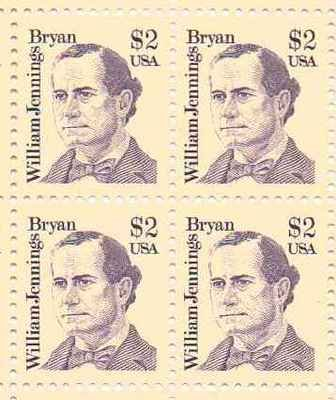 William Jennings Set of 4 x 2 Dollar US Postage Stamps NEW Scot 2195