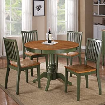 Steve Silver Candice 5 Piece Round Dining Room Set in Oak & Green