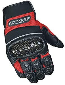 Pilot Motosport Super Mesh Motorcycle Gloves (Red/Black, Large)