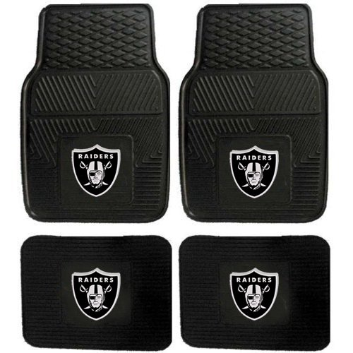 Nfl Oakland Raiders Car Floor Mats Heavy Duty 4-Piece Vinyl - Front And Rear front-396873