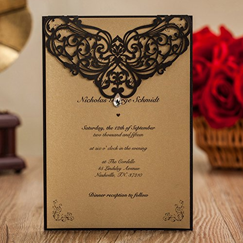 Wishmade 50x Vintage Printable Wedding Invitations Cards with Rhinestone and Hollow Favors Rustic Engagement Marriage Birthday Paper Cardstock(set of 50pcs)