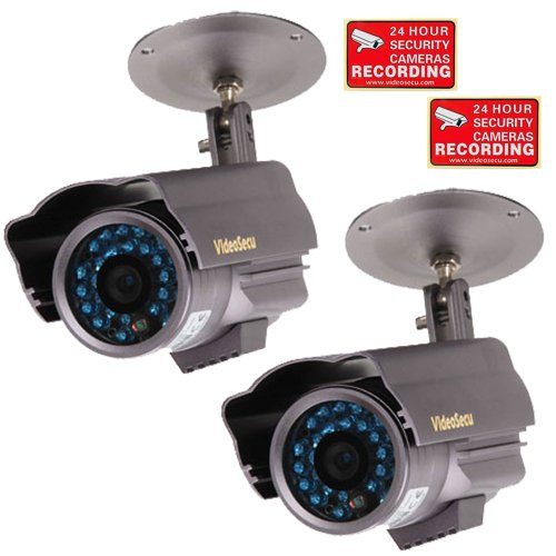 Videosecu 2 Pack Built-In Sony Ccd Outdoor Bullet Security Cameras 600Tvl Ir Day Night Vision 3.6Mm Wide Angle Lens Home Cctv Surveillance With Bonus Security Warning Stickers Wp1