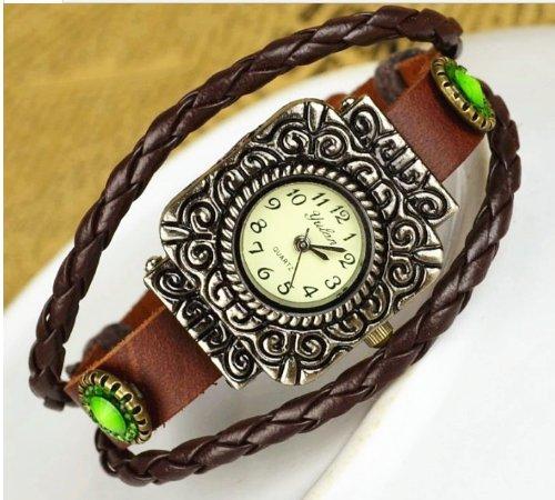Kano Bak(Tm) Fashion Weave Wrap Around Leather Retro Bracelet Woman Girl Man Relief Wrist Gift Watch