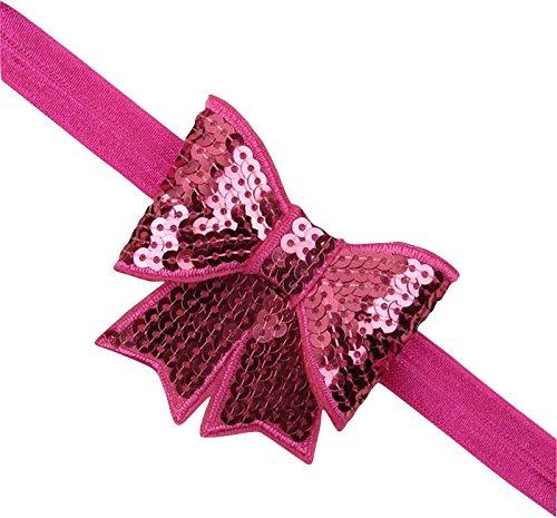 PinkXenia Fuschia Pink sparkly/glitter sequin bowknot elastic Newborn Soft Headband