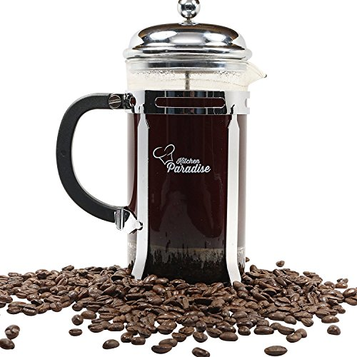 #1 French Press - Free Recipe E-BOOK - 8 cup/4 mug 34oz. Press for Coffee & Tea, Chrome Finish Frame and Lid, Stainless Steel Plunger & Filter, Heat Resistant Glass, 2 Extra Replacement Screens (One Person French Press compare prices)