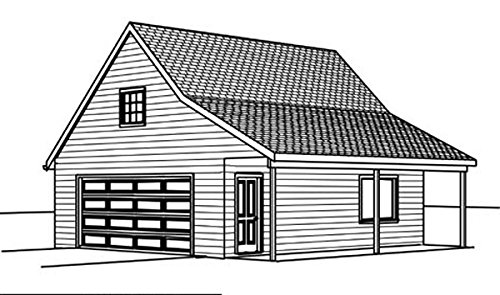 Garage plans 24 39 by 36 39 with porch 2 car single for Single car garage plans with loft