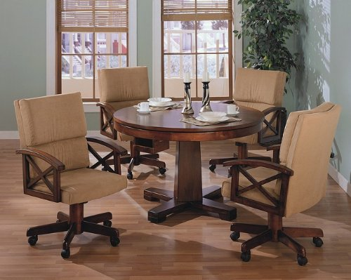 Three-in-One Solid Oak Wood Pool Poker Game Dining Table Chairs set