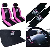 51hQ8oUXZpL. SL160  11PC Pink Lady Skull Seat Cover Combo Kit
