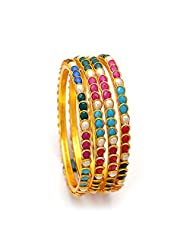 Jewar Bangles 4 Piece Size 2.6 Inch Pearl Pacchi Handmade Ruby Handmade Emerald Sapphire Hyderabad Real Look Jadau...