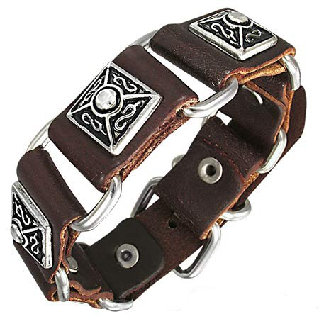 Fabulous Pyramid Studded Brown Leather Buckle Bracelet