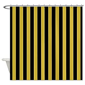 CafePress Black And Gold Thin Striped Shower Curtain Standard