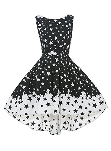Anni Coco Women's Backless Lucky Star Print Vintage Swing Dresses Medium White