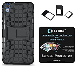 Chevron Tough Hybrid Armor Back Cover Case with Kickstand for hTC Desire 826 with HD Screen Guard & Multi Sim Adapter (Black)