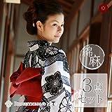 【3点セット】浴衣 ゆかた yukata プレタ 女性用 フリーサイズ 綿70%、麻30% ykt00241s【新品】