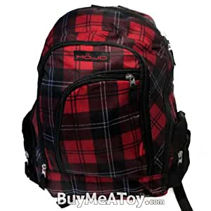 Red Mojo Modern checkered Backpack with lap top compartment inside