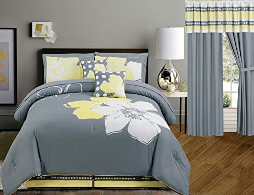 Buy Bargain Yellow Grey White floral Bed-in-a-bag QUEEN Size Bedding + Sheets + Curtains + Accent Pi...