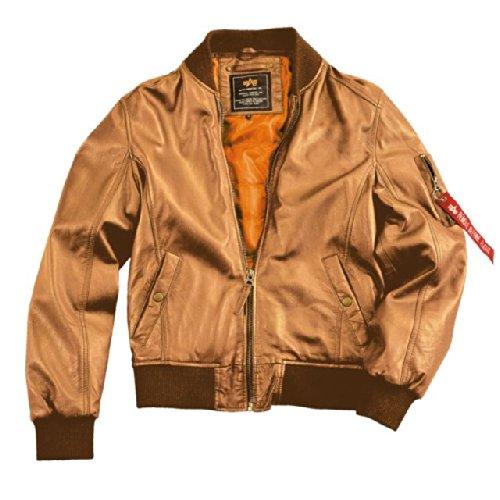 Alpha Ind. Jacke MA-1 Light Weight Leather – cognac NEU günstig bestellen
