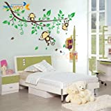 Asunflower® Giant Baby Nursery Wall Sticker Monkeys and Tree Decals For Boys and Girls Nursery Room Home Decor Decal Children's Room