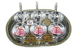 Rastogi Handicrafts Ice Cream bowls set with tray - dessert Bowl set Meenakari Work