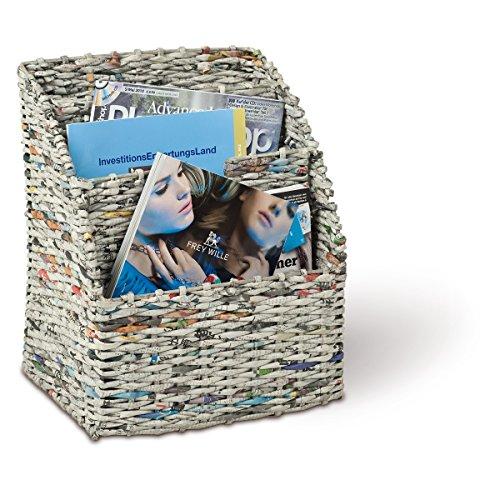Adam schmidt porte-magazines, journaux, 3 compartiments en papierschnur rectangulaire 150 x 220 x 290 mm (gris)