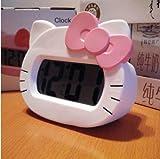 Hello Kitty Alarm Clock Screen LED Silent Digital Backlight Desk Alarm Clock