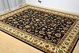 ウィルトン織 6畳 絨毯 カーペット ラグ ペルシャ絨毯 ブラック 約 240X340cm 75万ノット