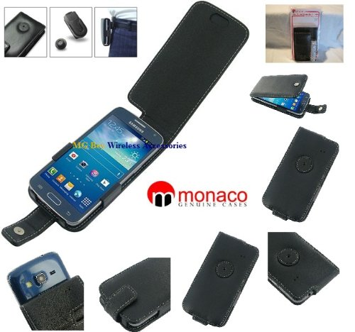 Monaco Black Flip Type Genuine Leather Cover Case W/Removable Belt Clip forSamsung Galaxy Express ll 2 SM-G3815