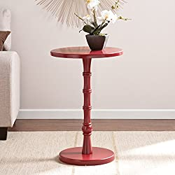 Reyna Red Round Accent Table