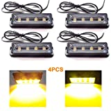 Yehard LED Strobe Lights Emergency Flash Lights Amber Waterproof Emergency Beacon Flash Caution Strobe Light Flashing 12-24V for Car Side and Front SUV Pickup Truck (4pcs)