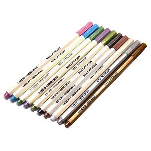 miraclekoo-10-colors-metallic-marker-metallic-colored-pens-for-scrapbook-and-craft-card-making-by-mi