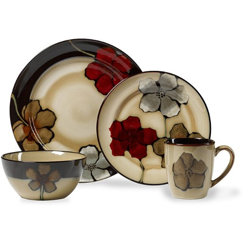 Pfaltzgraff Painted Poppies Dinnerware Set Bold Stoneware Vibrant 16 Pc