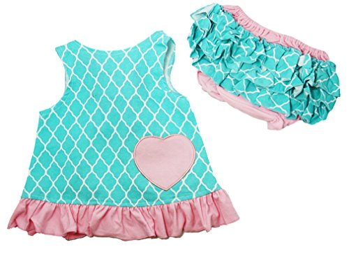 Wholesale Princess Light Pink And Turquoise Quatrefoil Cotton Swing Top & Bloomer Set Fits 24-36 Months front-813254