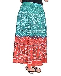 Femezone Bandhej cotton Skirt Torquise & Orange, free size