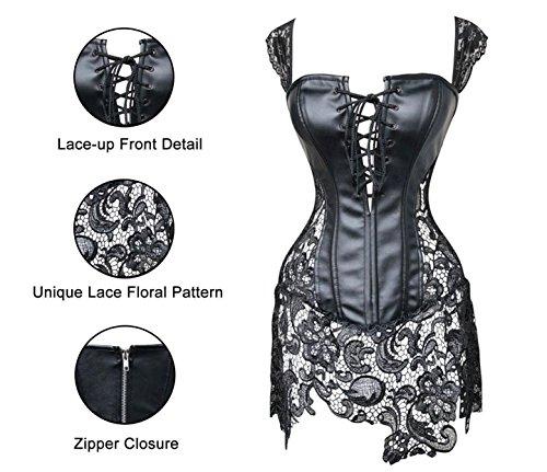 Kiwi-Rata-Charming-Sexy-Wome-Boned-Corset-Mini-Dress-Bustier-Basques-Faux-Leather-Lace-Up