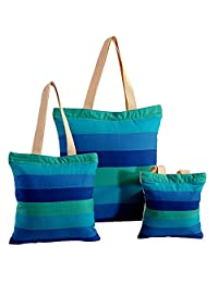 Multipurpose Shopping Bag Applique Patchwork, With Zipper Closing And Design Patches 3 Pcs Set, - B015GWPW7M