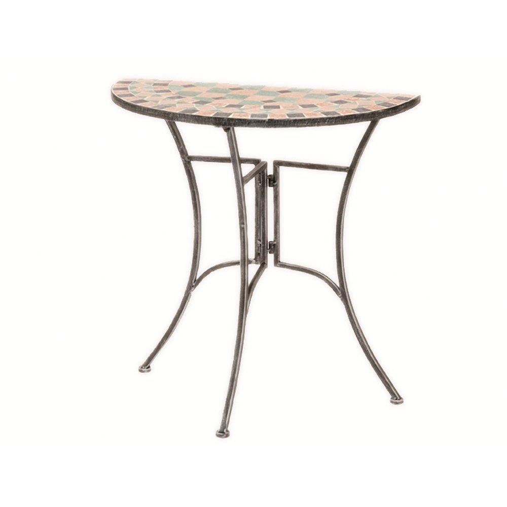 Siena Garden 246960 Anstelltisch Fiore, Gestell silber-schwarz matt, Mosaikoptik in der Platte, L 69 x B 35 x H 71cm