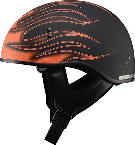 Gmax GM65 Skull Flame Naked Half Helmet (Flat Black/Orange, Small) (Gmax Modular Helmet Small compare prices)