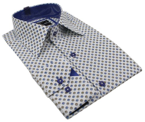 Mens Italian White Blue Alfie Moon Design Collar Shirt Slim Fit Smart or Casual 100% Cotton