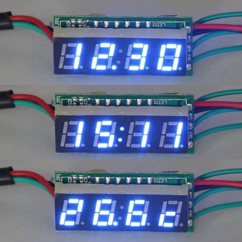 "Drok 3In1 Digital Car Clock Voltmeter Thermometer Dc 0-200V Voltage Meter, 0.28"" Yellow Led Display"