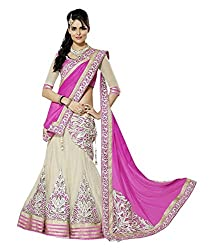 Fashion Gallery pink Grey Georgette Net Designer Lehenga