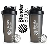 New Genuine Pair 28oz Black Colored Style Classic Blender Bottle Sundesa BlenderBottle Fitness Water Bottle Shaker Cup For Protein Shakes and other powder supplements with stainless steel wire whisk blenderball 28 Ounces to the brim Shaker Cup