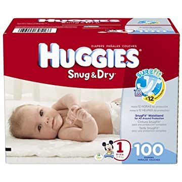 Huggies Snug & Dry Diapers (Size 1, Pack of 100)