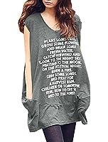 Allegra K Women Letters V Neck Sleeveless Loose Tops Oversize T-shirts