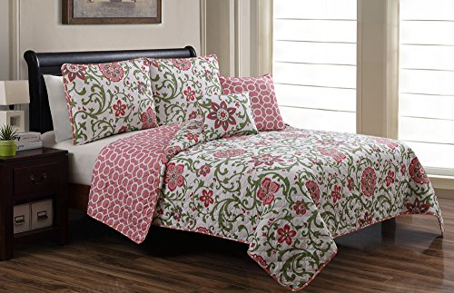 5 Piece Pink And White Quilt Set Queen/Full Size Bedding By Plush C Collection