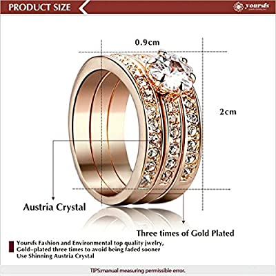 Yoursfs 0.5CT Cubic Zirconia Three-In-One Engagement Rings 18k Rose Gold Plated